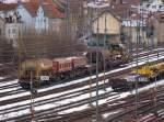 guterbahnhof-unterturkheim/52812/abgestellte-bahndienstfahrzeuge-und-wagon-fuer-den Abgestellte Bahndienstfahrzeuge und Wagon für den Umbau auf der KBS 750 zwischen Untertürkheim und Mettingen. (02,02,2010)