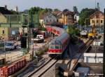 218 164/59775/ausfahrt-des-rb13999-mit-218-164-2 Ausfahrt des RB13999 mit 218 164-2 nach Kirchheim/T durch die Baustelle am Bf Wendlingen/N für die S-Bahn. (25.06.2009)